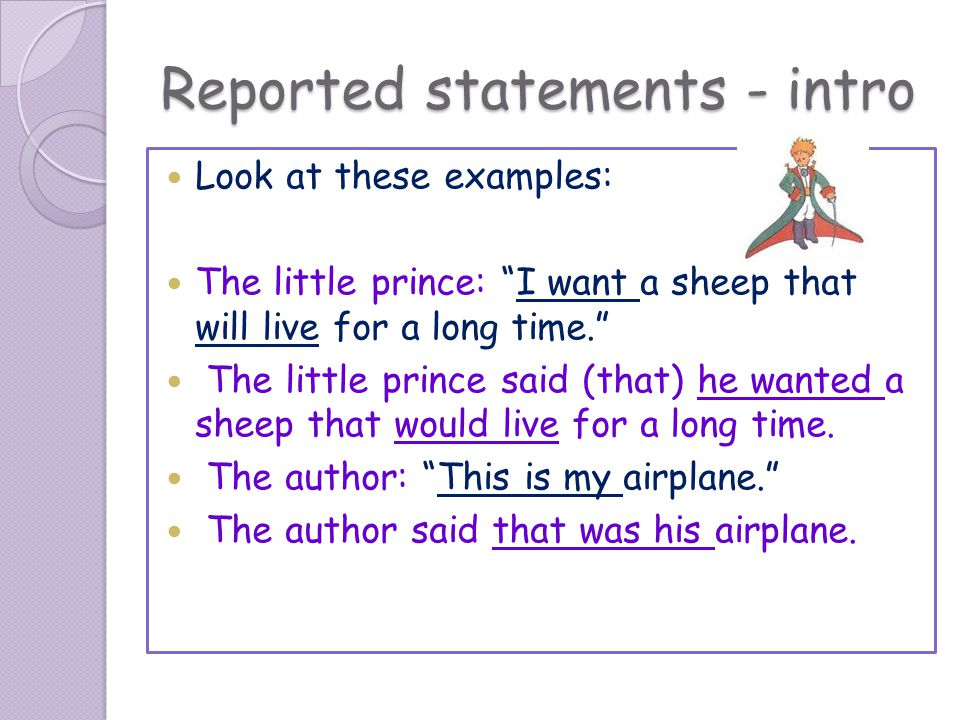 Reported statements - intro
