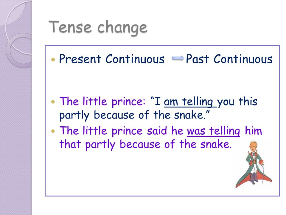 Tense change Present Continuous Past Continuous