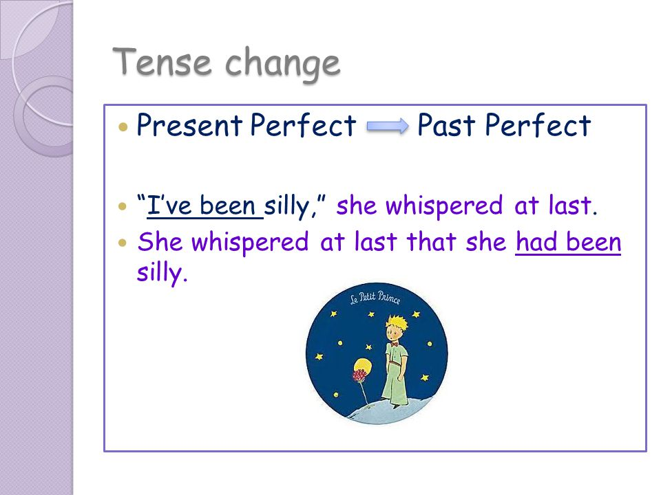 Tense change Present Perfect Past Perfect