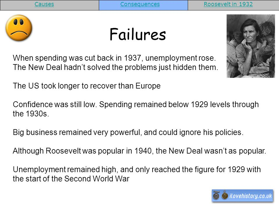 Failures When spending was cut back in 1937, unemployment rose.