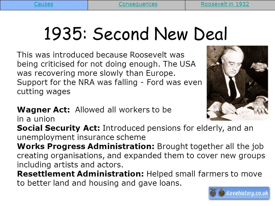 Causes Consequences. Roosevelt in 1932. 1935: Second New Deal.