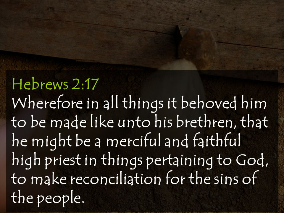 Hebrews 2:17 Wherefore in all things it behoved him to be made like unto his brethren, that he might be a merciful and faithful high priest in things pertaining to God, to make reconciliation for the sins of the people.
