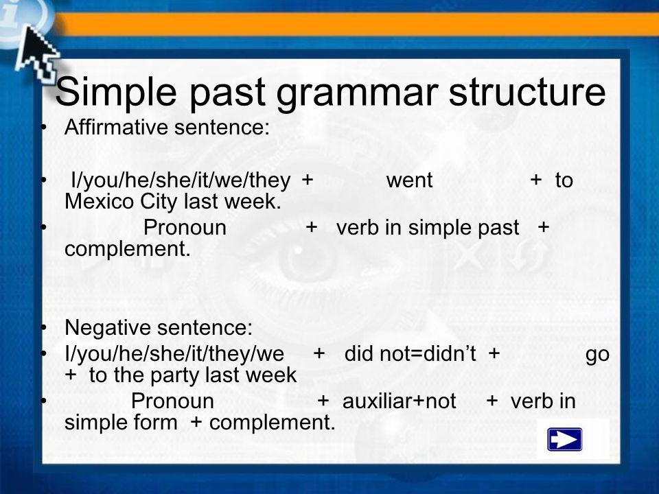 Simple past grammar structure
