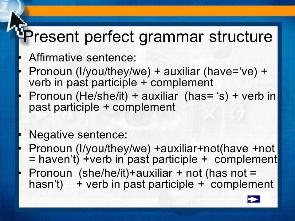 Present perfect grammar structure