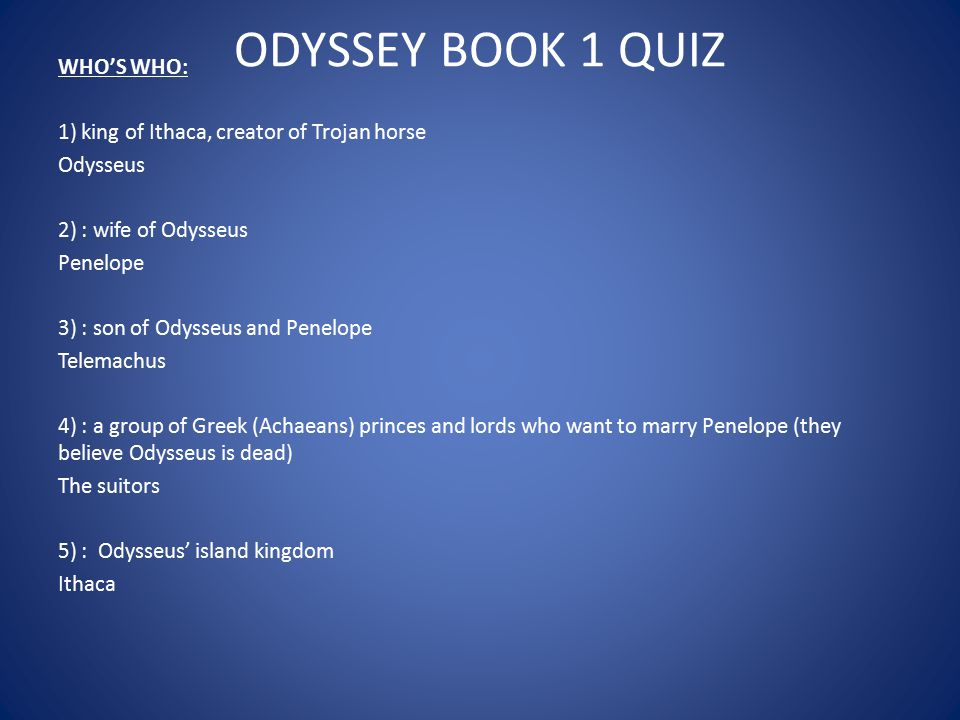 ODYSSEY BOOK 1 QUIZ WHO'S WHO:
