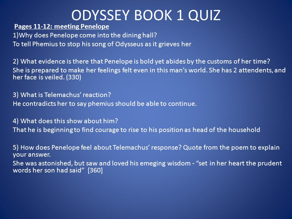 ODYSSEY BOOK 1 QUIZ Pages 11-12: meeting Penelope