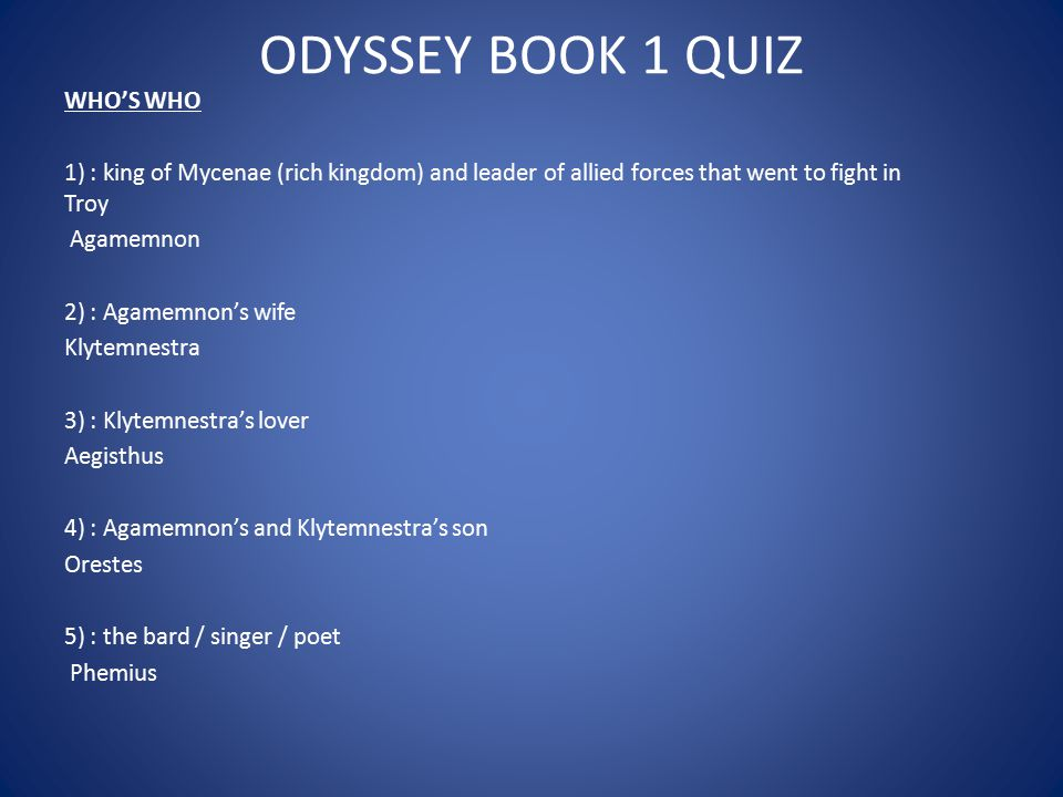 ODYSSEY BOOK 1 QUIZ WHO'S WHO