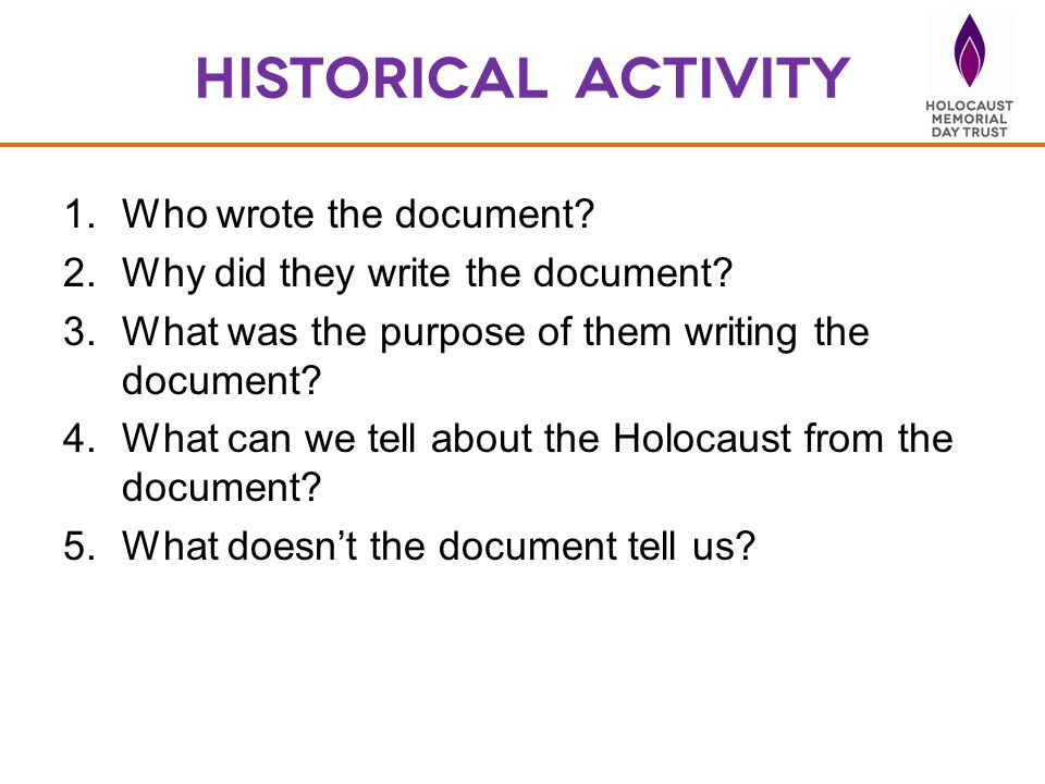 Historical activity Who wrote the document