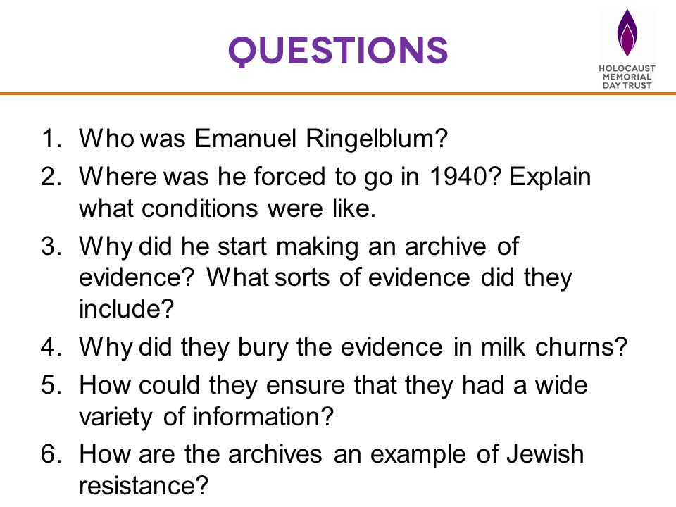 questions Who was Emanuel Ringelblum