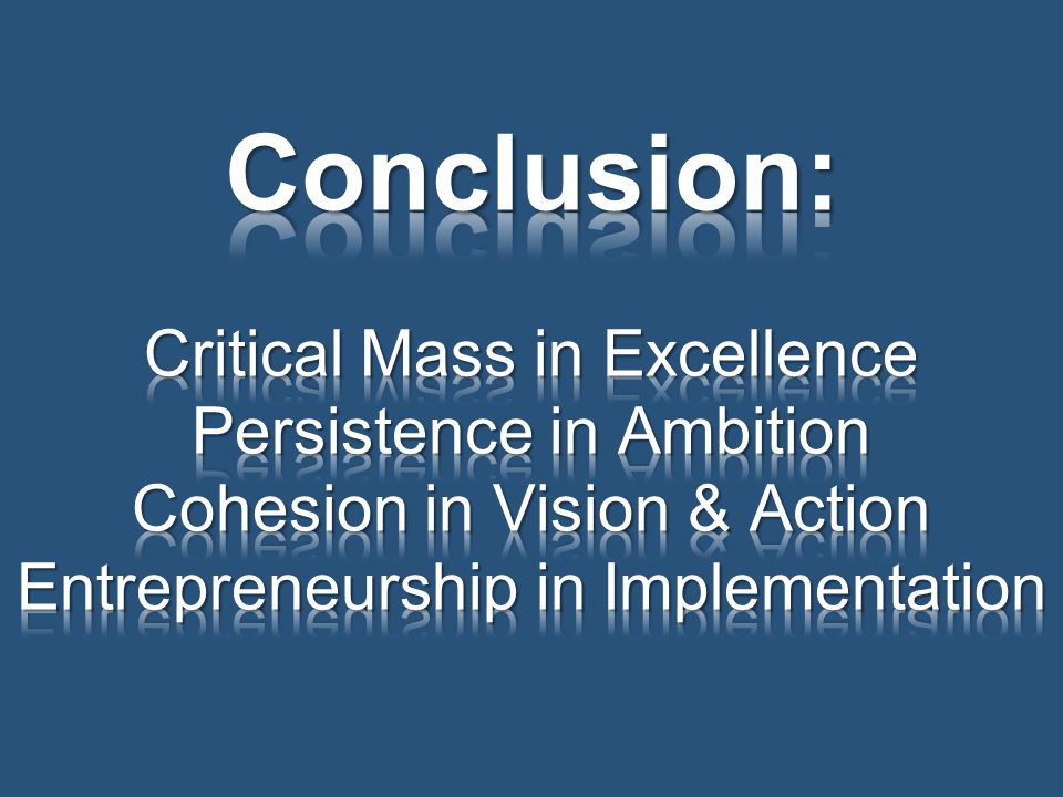 Conclusion: Critical Mass in Excellence Persistence in Ambition Cohesion in Vision & Action Entrepreneurship in Implementation