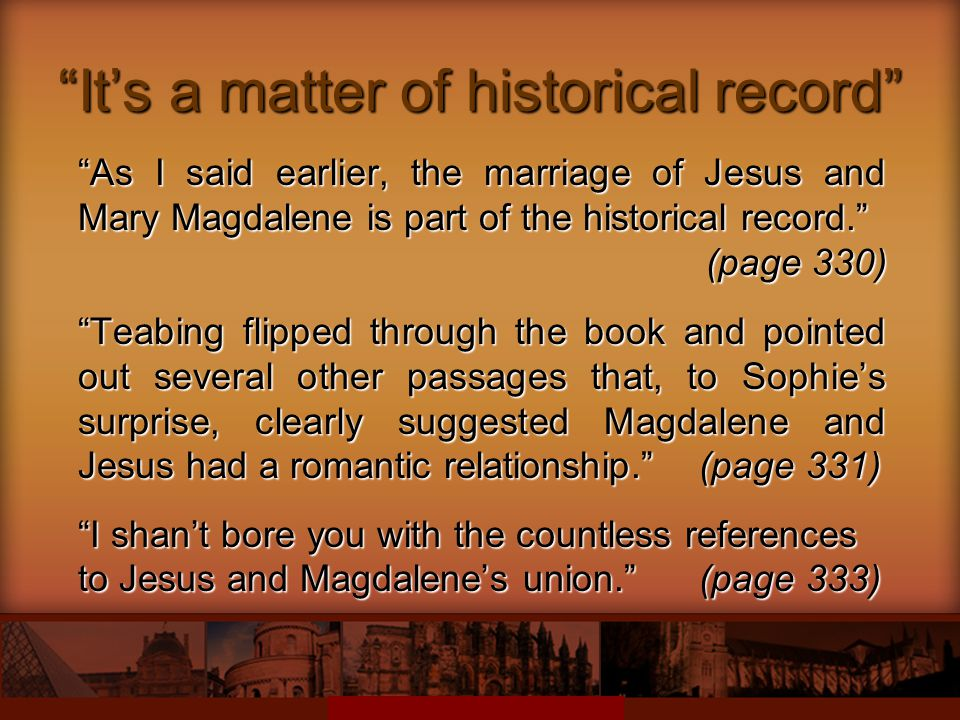 It's a matter of historical record