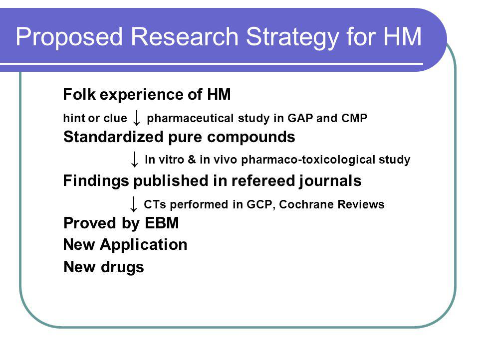 Proposed Research Strategy for HM