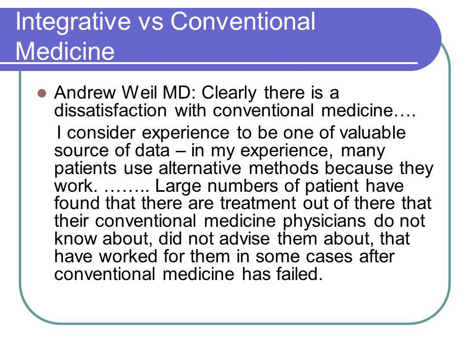 Integrative vs Conventional Medicine