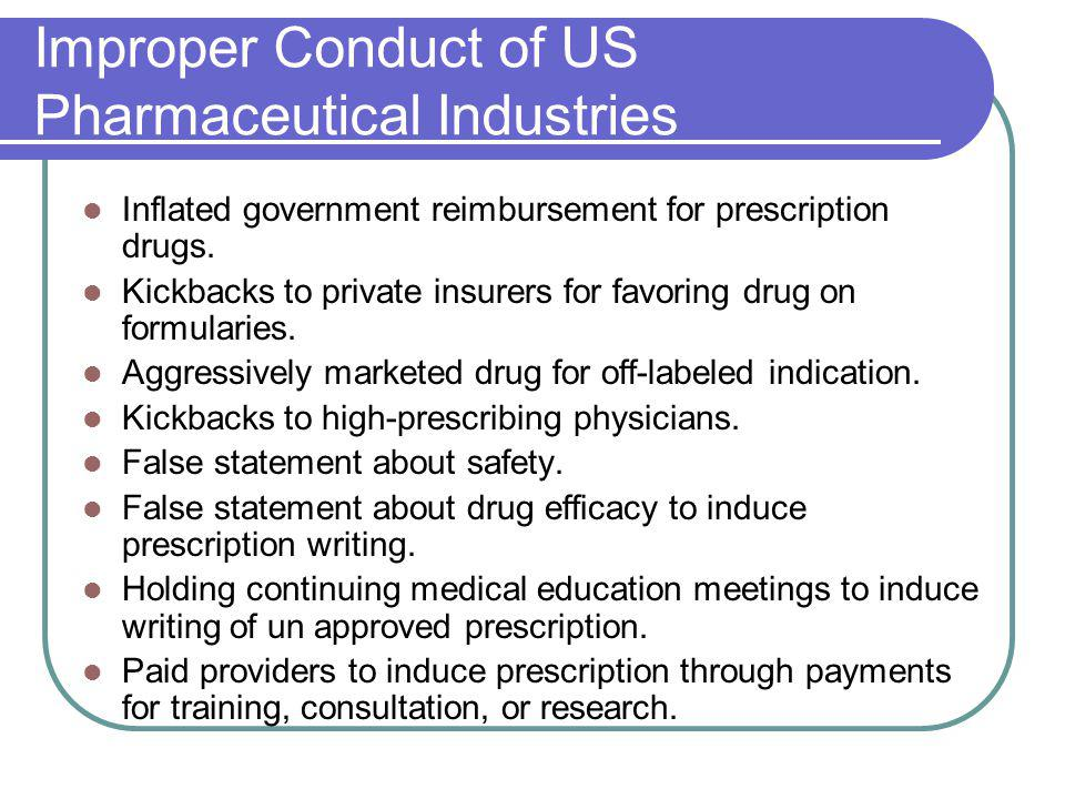 Improper Conduct of US Pharmaceutical Industries