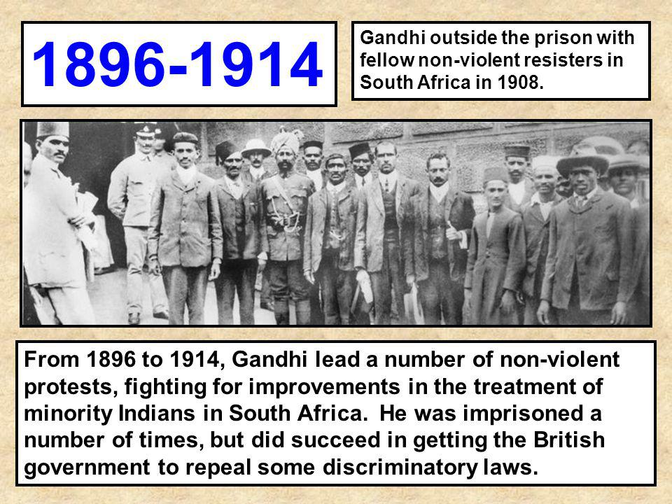 1896-1914 Gandhi outside the prison with fellow non-violent resisters in South Africa in 1908.