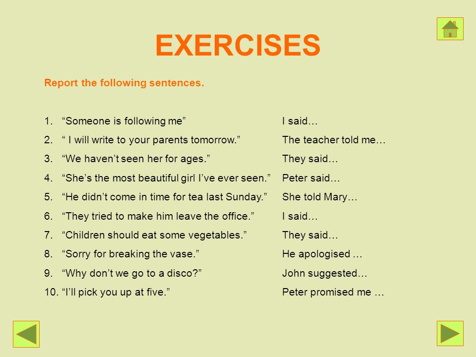 EXERCISES Report the following sentences.