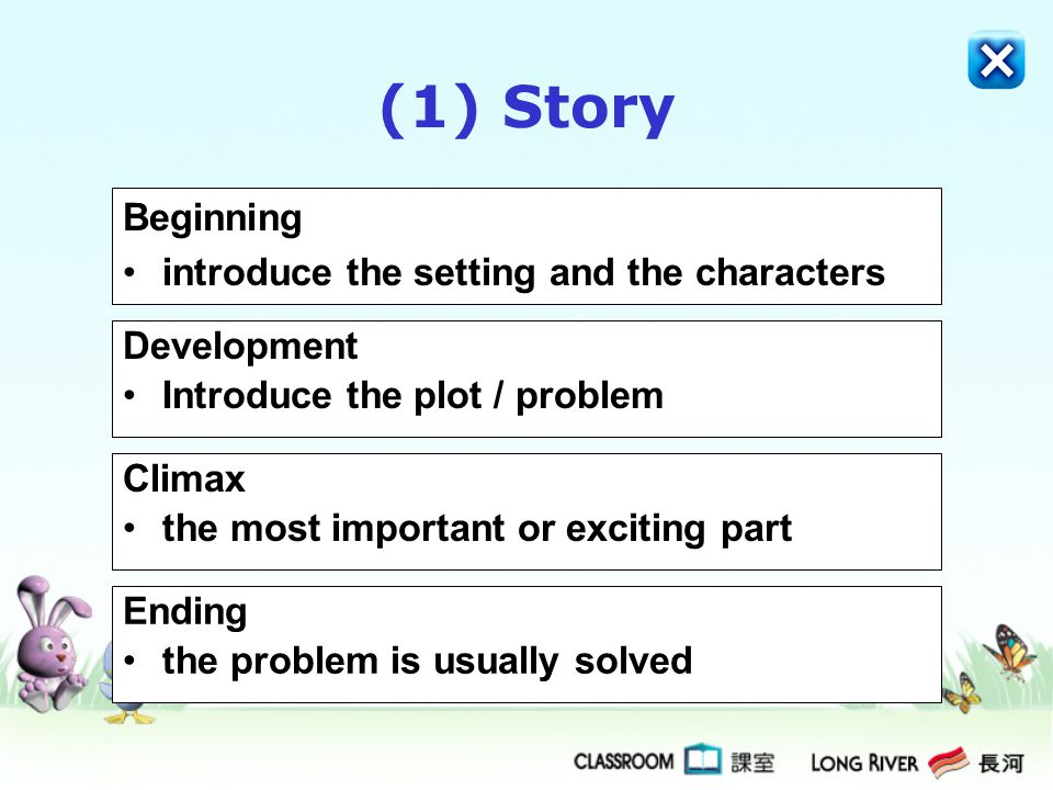 (1) Story Beginning introduce the setting and the characters