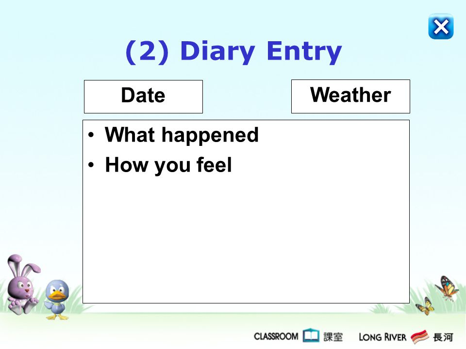 (2) Diary Entry Date Weather What happened How you feel