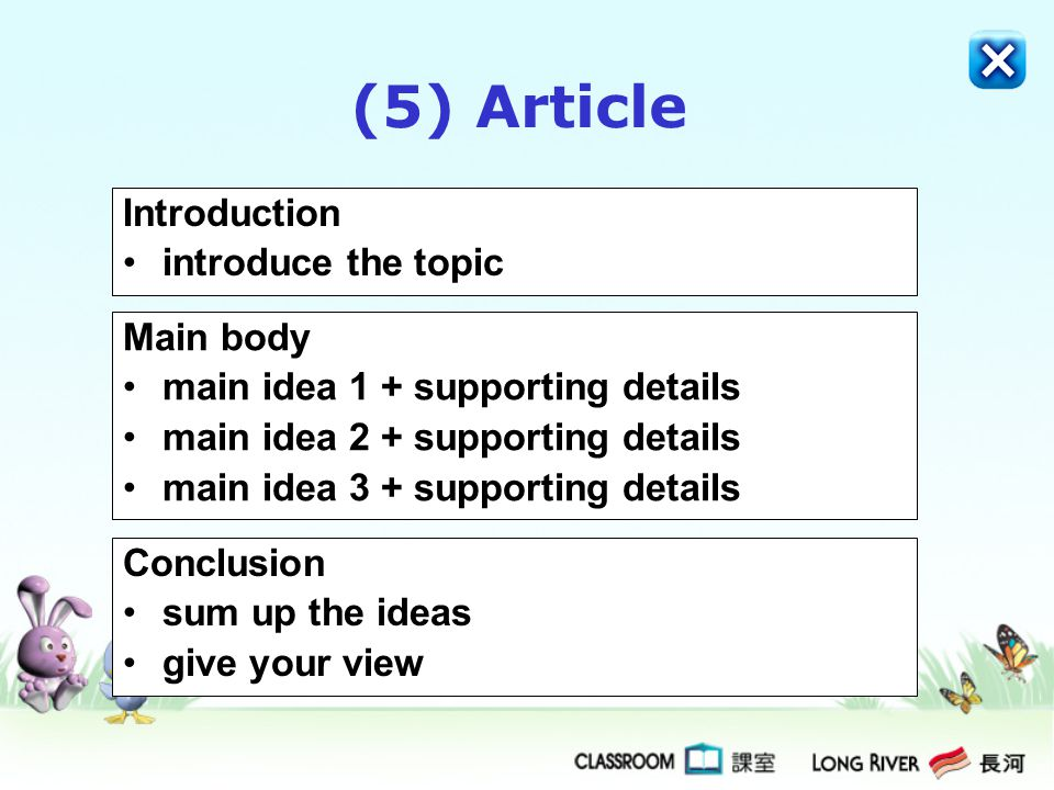(5) Article Introduction introduce the topic Main body