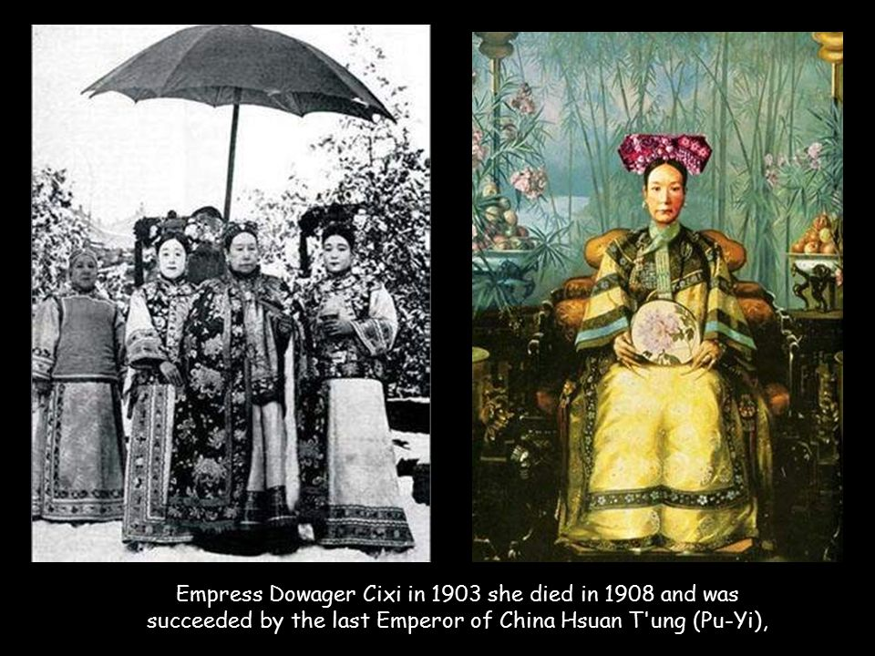 Empress Dowager Cixi in 1903 she died in 1908 and was succeeded by the last Emperor of China Hsuan T ung (Pu-Yi),