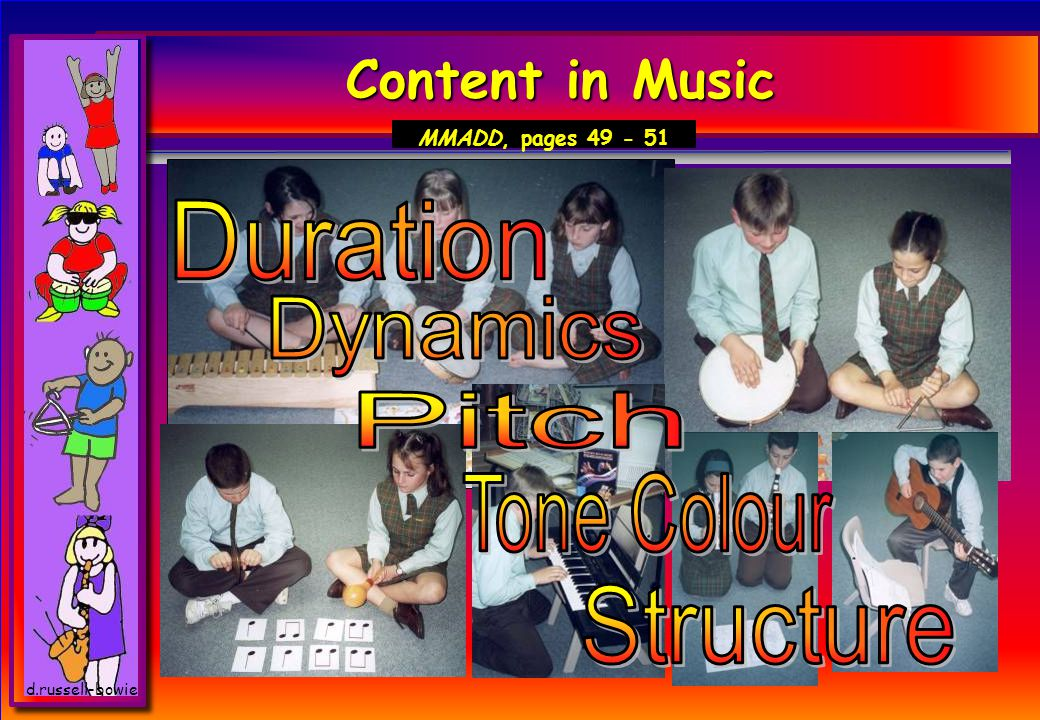 Content in Music Duration Dynamics Pitch Tone Colour Structure