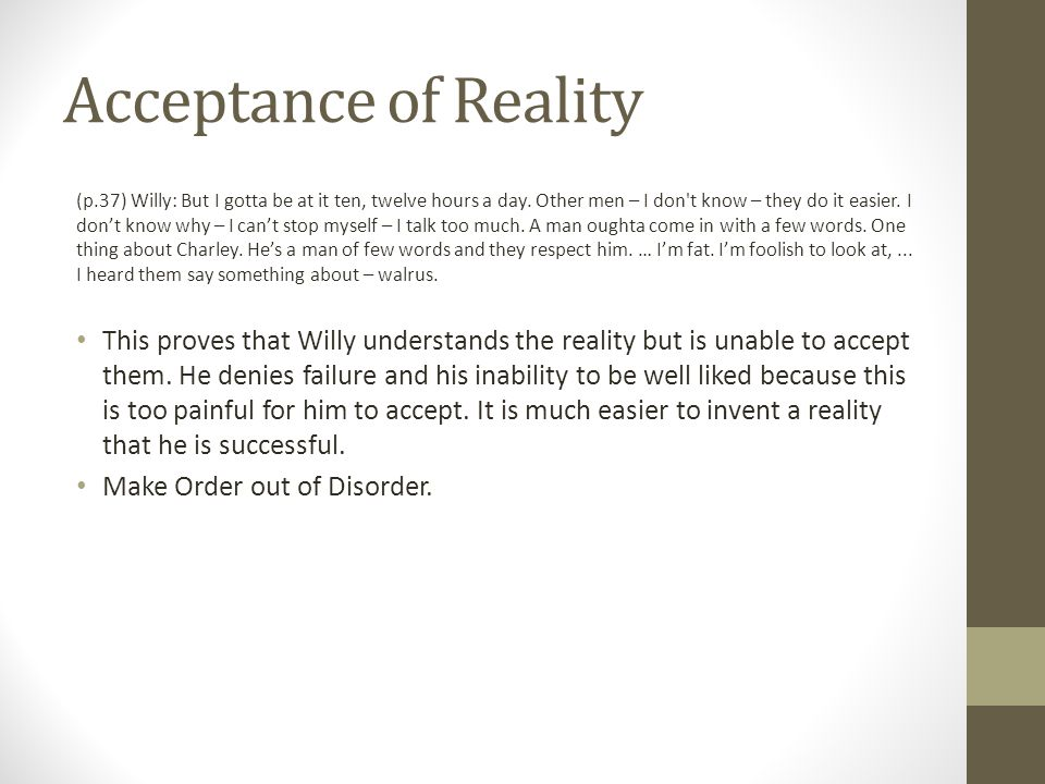 Acceptance of Reality