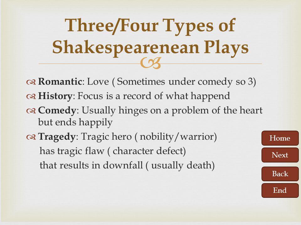 Three/Four Types of Shakespearenean Plays
