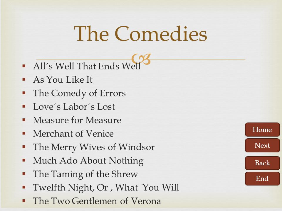 The Comedies All´s Well That Ends Well As You Like It