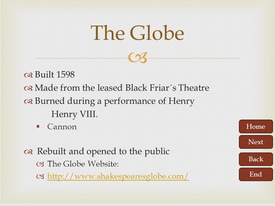 The Globe Built 1598 Made from the leased Black Friar´s Theatre