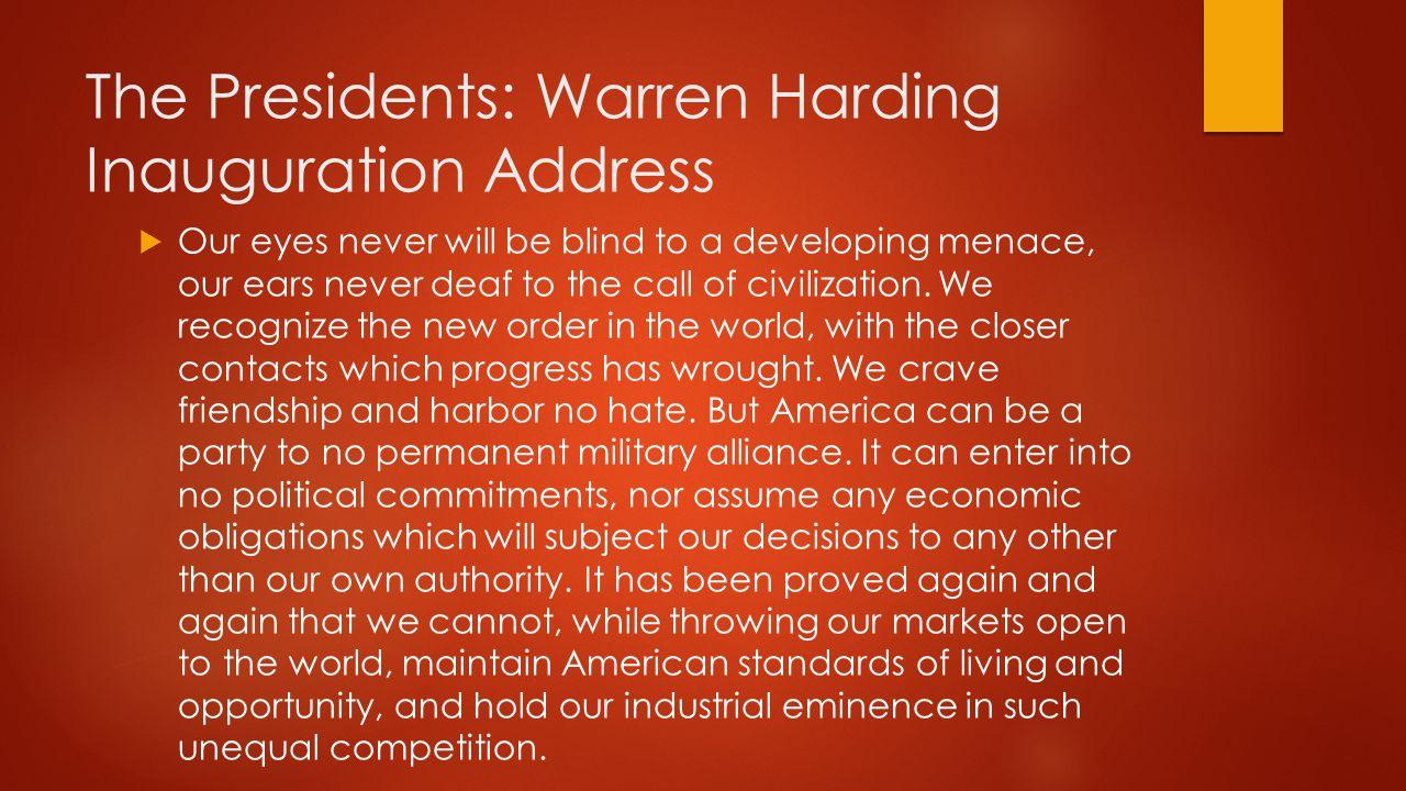 The Presidents: Warren Harding Inauguration Address