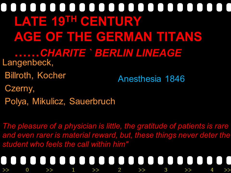 Late 19th century Age of the German Titans ……Charite ` Berlin lineage