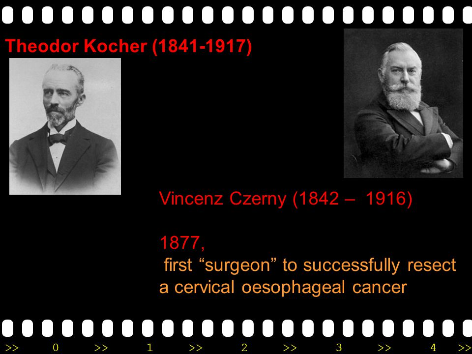 Theodor Kocher (1841-1917) Vincenz Czerny (1842 – 1916) 1877, first surgeon to successfully resect a cervical oesophageal cancer.