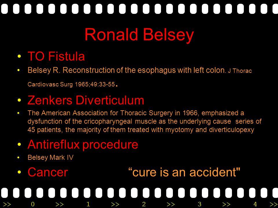 Ronald Belsey TO Fistula Zenkers Diverticulum Antireflux procedure