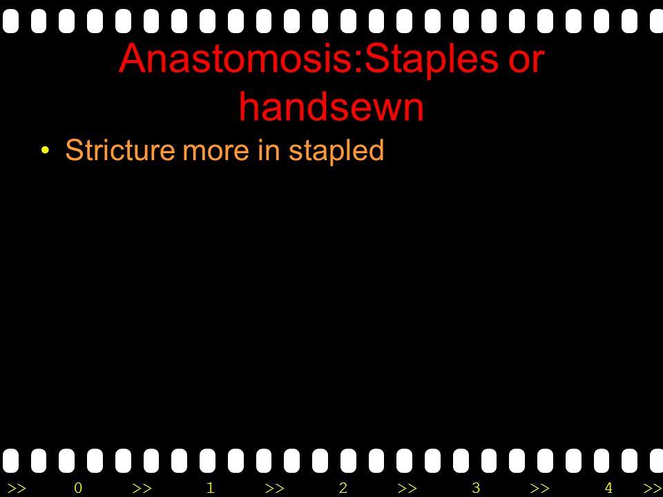 Anastomosis:Staples or handsewn