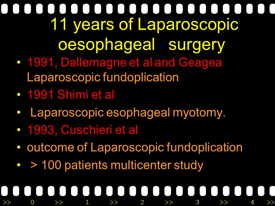 11 years of Laparoscopic oesophageal surgery