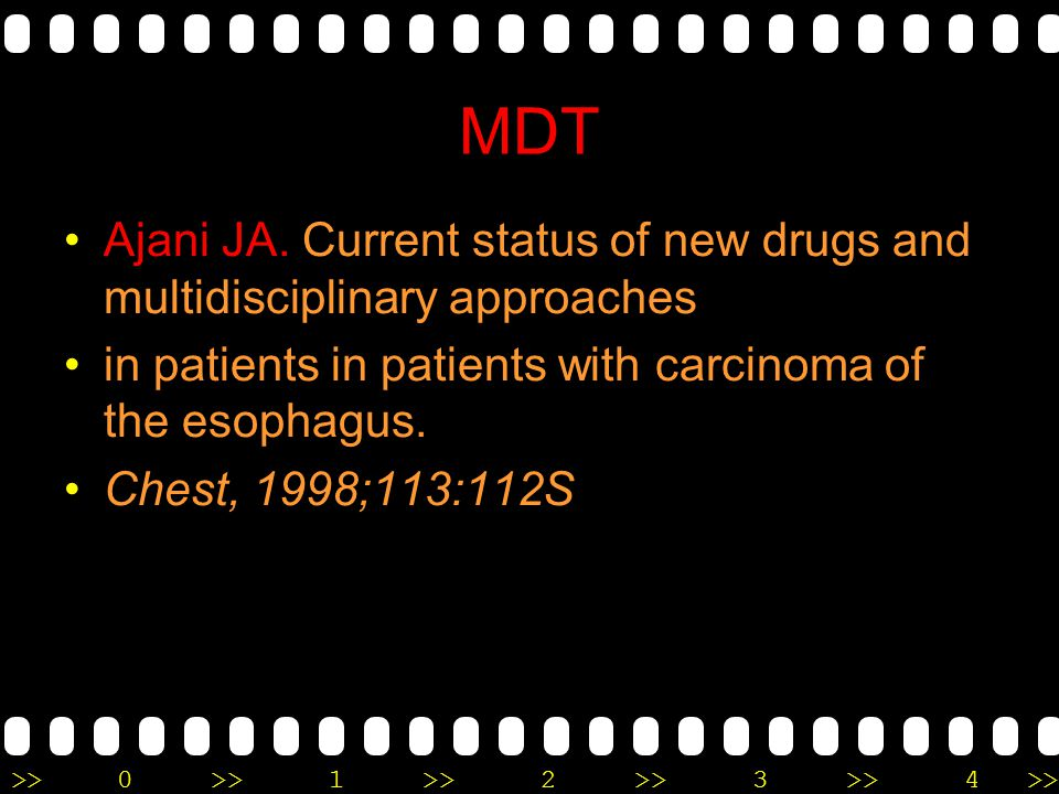 MDT Ajani JA. Current status of new drugs and multidisciplinary approaches. in patients in patients with carcinoma of the esophagus.