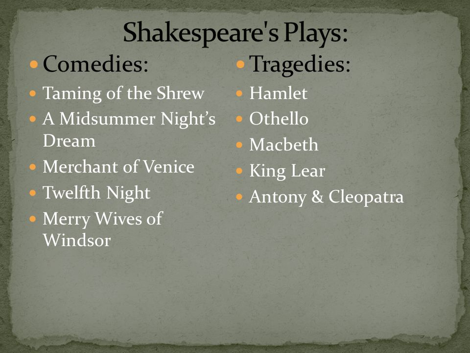 Shakespeare s Plays: Comedies: Tragedies: Taming of the Shrew Hamlet