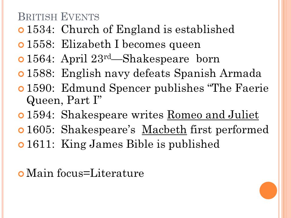 1534: Church of England is established 1558: Elizabeth I becomes queen