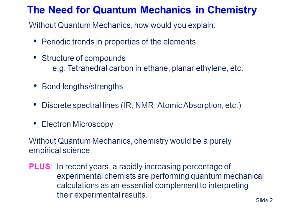The Need for Quantum Mechanics in Chemistry