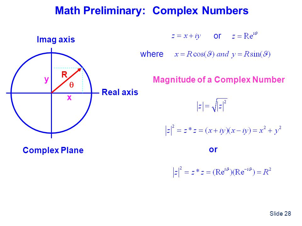 Math Preliminary: Complex Numbers