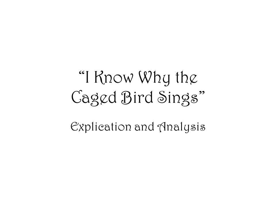 an analysis of i know why the caged bird sings Dive deep into maya angelou's i know why the caged bird sings with extended  analysis, commentary, and discussion.