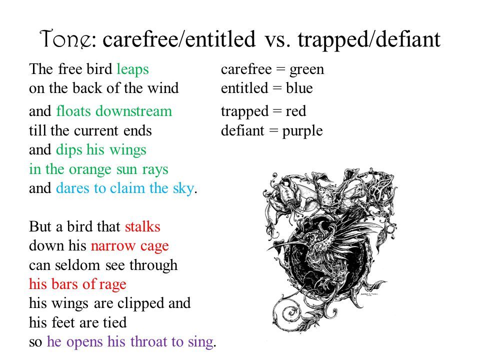 Tone: carefree/entitled vs. trapped/defiant