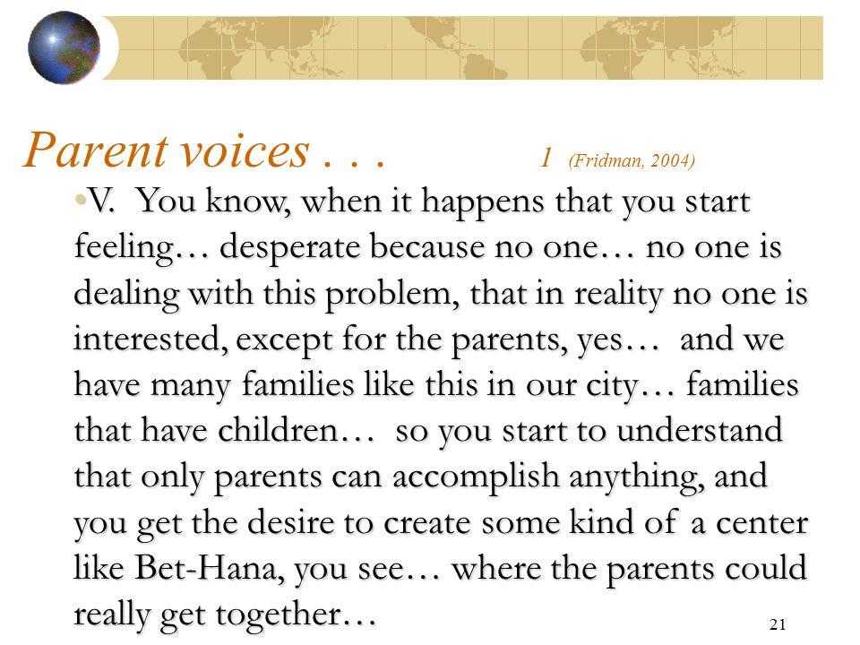 Parent voices . . . 1 (Fridman, 2004)