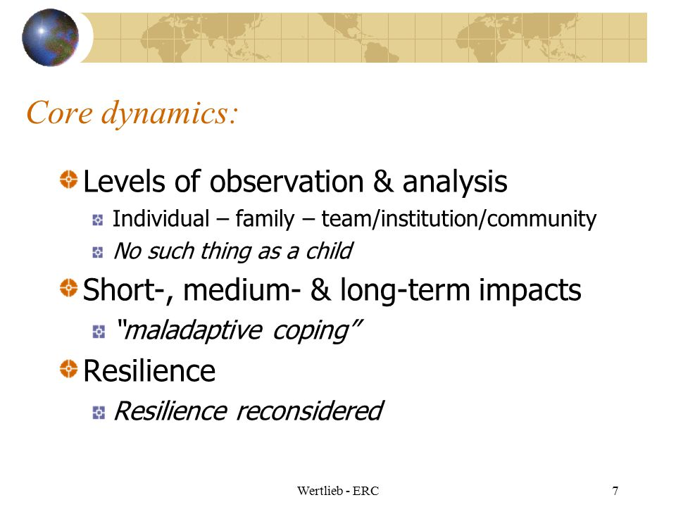 Core dynamics: Levels of observation & analysis