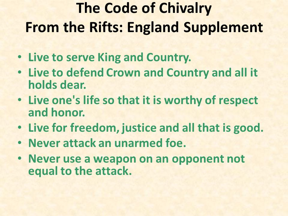 The Code of Chivalry From the Rifts: England Supplement