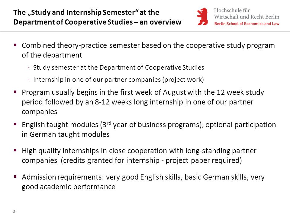 "The ""Study and Internship Semester at the Department of Cooperative Studies – an overview"