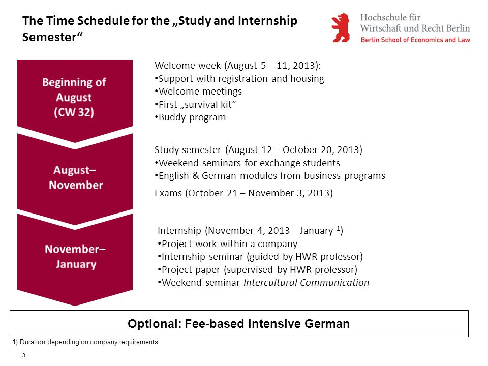 "The Time Schedule for the ""Study and Internship Semester"