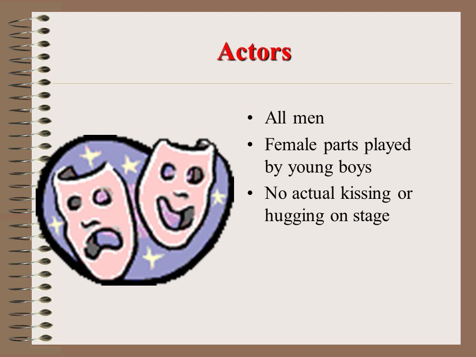Actors All men Female parts played by young boys