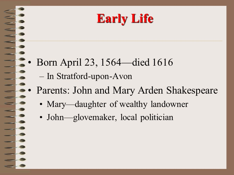 Early Life Born April 23, 1564—died 1616