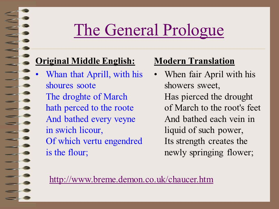 The General Prologue Original Middle English: